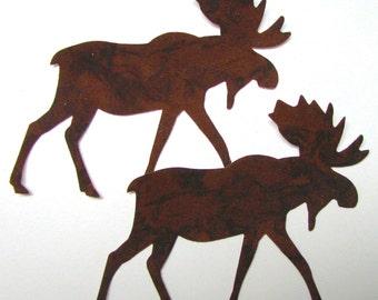 Diecut MOOSE,  diy,  appliques, NINE brown moose, TEMPORARILY Fused 100% premium cotton fabric, Precision die cut
