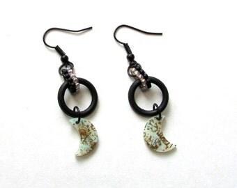 Black Industrial Earrings - Moon Earrings - Beaded Earrings - Rubber O Ring Earrings - Hardware Earrings  - Goth Earrings - Gifts under 10