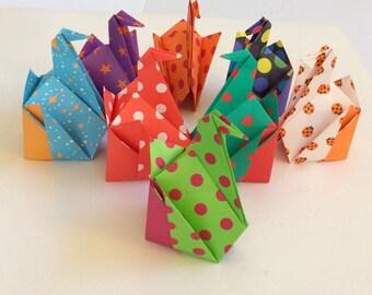 Miniature Origami Paper SITTING CRANES - set of 6