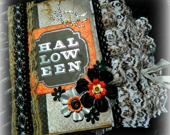 Halloween 8 x 6 Cascading Vintage Inspired Paper Bag Scrapbook Album Waterfall Album by Brandi