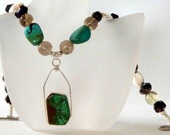 Turquoise Necklace Statement  Necklace Boho Necklace Natural Gemstones Bohemian Necklace Gemstone Necklace Boho Jewelry Turquoise Jewelry