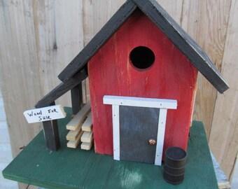 Primitive Birdhouse Country Barn Hand Split Wood Pile Rustic Oil Drum