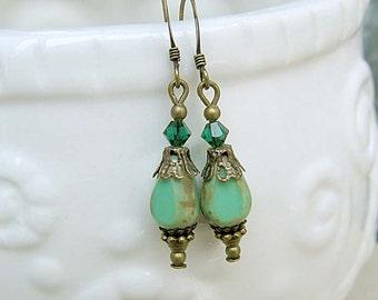 Small earrings Mint turquoise dangle earrings stocking stuffer green drop earrings Jewelry