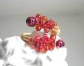 Sapphire Gold Filled Ring, Wire Wrapped Tourmaline Cocktail Ring, Tangerine, Raspberry, Original Design, Signature, Size 8