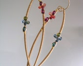 Wire Wrapped Gold Filled Earrings, Long Gemstone Dangles, Sapphires, Fuchsia, Shapely, Distinctive, Minimalist, Original Design