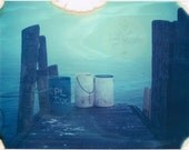 Best Friends -Two White Barrels on a Pier -Foggy Day Film Photo Print -Fishing Barrels, Aqua Sky -Seaside Nautical Scene -New England Photo