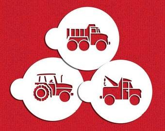 Trucks Stencil Set for Cookies, Cakes & Cupcakes - Designer Stencils (C923)