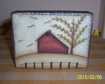 Wood Sitter Block Saltbox House Primitive Home Decor