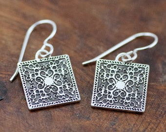 Sterling Silver Etched Squared Scroll Earrings