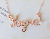14K Rose Gold Filled Custom Name Necklace, Custom Name Necklace with Crystal, Wire name necklace