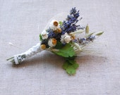 Pin on Corsage of Dried Lavender, Daisies, Ferns, Oats and Green Wheat