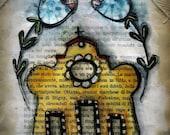 Original vintage paper mixed media art holy spirit welcome