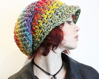Peace Rainbow Love Rasta Beret chunky Hat slouch storm grey