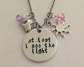 """Disney inspired Tangled necklace """"at last i see the light"""" Rapunzel hand stamped Disney Jewelry charm necklace"""