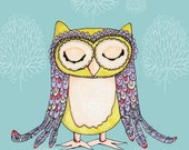 WHIMSICAL OWL Illustration Print with Inspirational Dream What the Trees Whisper Quote