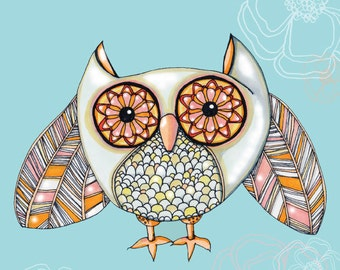 KID'S ROOM WHIMSICAL Owl Print with Inspirational Rumi Quote