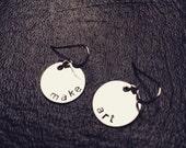 MAKE ART earrings sterling hand stamped custom personalized engraved