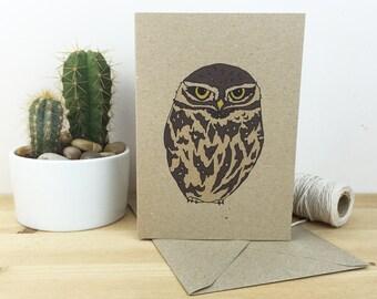 Little owl card - bird illustration - eco friendly - recycled kraft card