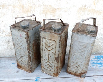 Vintage old French tin petrol can