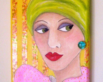 PAINTING GARDEN GIRL, hand painted, garden lady, collage, green turban, roses, Mother's Day, earring, gift for woman, gardener, turqoise gem