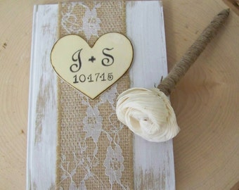 Wedding Guest Book, Rustic Guest Book and Pen, Burlap & Lace Wedding, Shabby Chic Wedding Decor