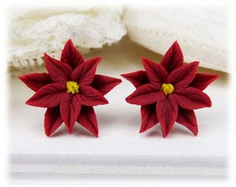 Red Poinsettia Earrings Stud or Clip On - Poinsettia Jewelry Collection