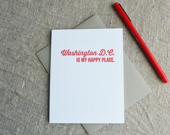 DC Love Letterpress Card: Washington DC is my Happy Place
