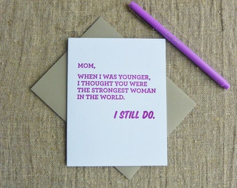 Letterpress Greeting Card - Mother's Day Card - Strongest Woman - 506-001