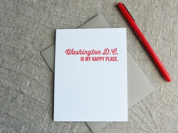 DC Love Letterpress Card: Washington DC is my Happy Place