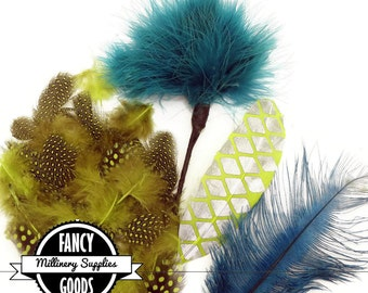 SALE - Teal  / Green - Mixed Feather Lot - Turkey Flats - Biots - Pom Pom - Printed - Coque - Guinea - Great for Millinery