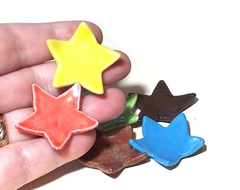 Star Mini Dishes Set of 6 Colorful Ceramic Pottery Ring Catcher Cute Party Favors Brown Blue Green Yellow Lime Pink Gift for Women Girls