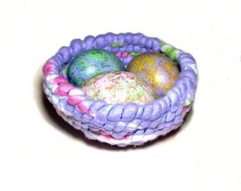 Soft Fleece Basket Colorful Egg Gourds Coiled Basket Pastel Easter Decor Lavender Pink Multi Cottage Chic Bowl Purple Fiber Basket Nest Eggs