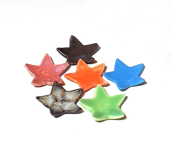 Star Dish Wedding Shower Favors 6 Tiny Colorful Ceramic Plates