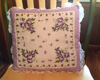 SALE Vintage Purple Lavender Flower Hankie Pillow