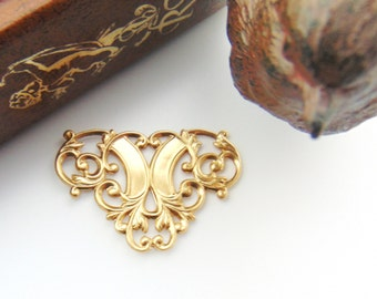BRASS (4 Pieces) FLOURISH Scroll Connector Stampings - Jewelry Ornament Findings (D-3) #