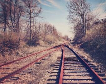 Landscape Photography, Railroad Tracks, Rustic Style, Autumn Photo, Fall Colors, Rustic Decor, Vintage Tones, Abandoned Train