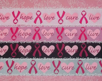 "7/8"" Breast Cancer Awareness Grosgrain Ribbon 1 yd Live Hope Love Cure Pink Awareness Ribbon Think Pink Ribbon Breast Cancer Ribbon Pink"