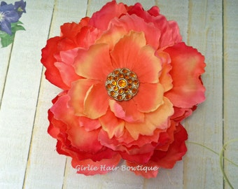 "Coral Hair Clip Peach Flower Clip Pink Flower Clip Orange Hair Clip 5"" Peony Hair Clip Orange Mum Rhinestone Wedding Bridesmaid Flower Girl"