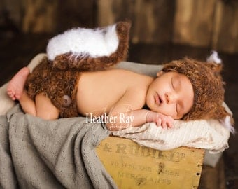 Crochet Baby Squirrel outfit-Squirrel set-Squirrel prop-Baby animal hat-newborn photography prop-crochet baby outfit-character hat-Costume