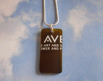 AVEDA Logo Recycled Amber Glass Made from a Bottle NAKED Necklace