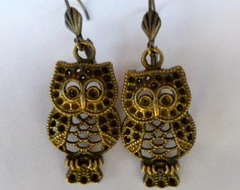 Handmade Brass Cut-out Dangle Owl Earrings on Lever Back Hooks