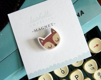 Illustrated Girl Fox Handmade Magnet
