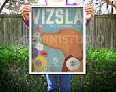 Vizsla dog flower company graphic illustration giclee archival print  by stephen fowler Pick a Size