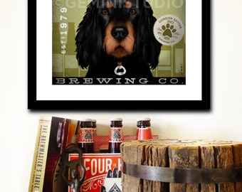 Gordon Setter brewing beer company dog artwork illustration giclee signed artists print by Stephen Fowler