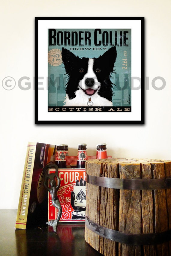 Border Collie Brewery artwork dog graphic illustration signed archival artists print giclee