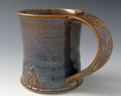 Stoneware Coffee Mug / Tea Cup in Amber and Hazy Blue