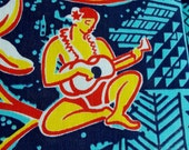 reserved for Ingrid Vintage Hawaiian Fabric Cotton Wild Uke Players and Hula Dancers RARE 2.25 yards by 35 wide