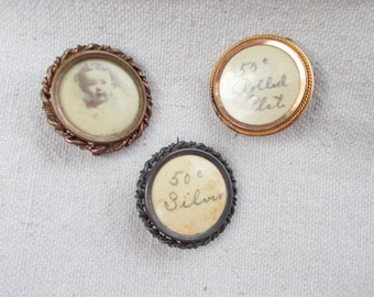 Trio of Photo Pins Victorian Rolled Gold, Silver with Celluloid faces Small Child Photo, Sweet
