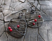 Hammered dark metal, wire wrapped with red bamboo coral beads earrings