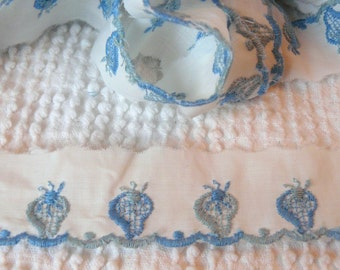 Vintage Flat White Trim with Blue Embroidered Strawberries and Edging - By the Yard - so sweet